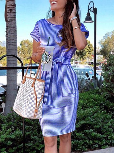 Pinstripe Print Casual Midi Dress
