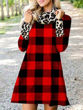 Plaid Leopard Print stitched Winter Dress