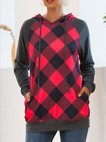 Plaid Print Hooded Sweater Tops