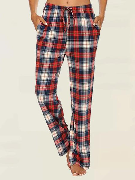 Plaid Print Loose Casual Jeans