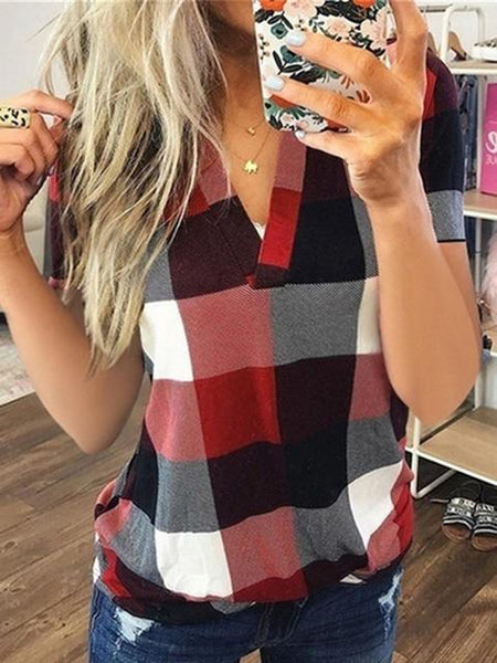 Plaid Print Short Sleeve V-neck T-shirt