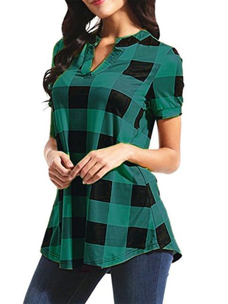 Plaid Print V-Neck Blouse