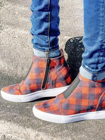 Plaid Print Winter Warm Casual Boots