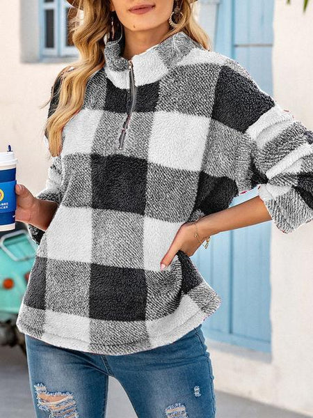 Plaid Print Zipper Up Plush Sweatshirt