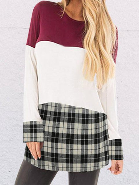 Plaid Splicing Long Sleeve Tops