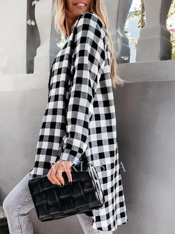 Plaid V Neck Long Sleeve Blouse