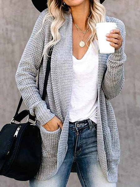 Pocket Asymmetric Long Sleeve Knitted Sweater Cardigan