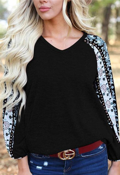 Printed Lantern Sleeve V-neck Casual Tops