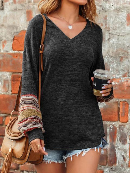 Printed Lantern Sleeve V-neck Tops