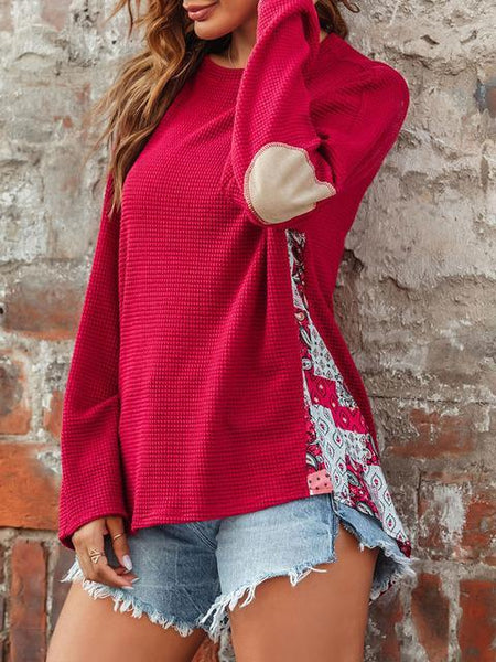 Printed Patchwork Knitted Pullover