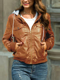 Pu Leather Removable Hood Punk Jacket Coat