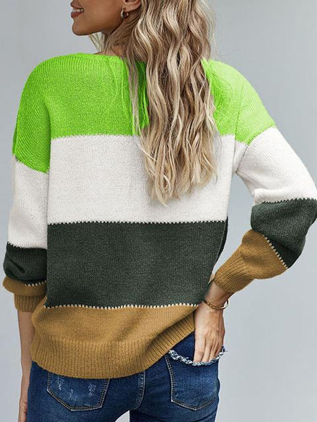 Pullover Colorblock Winter Sweater