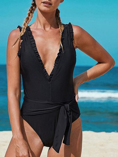Pure Color Bikini One-piece Swimsuit