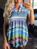 Rainbow Stripes V-neck Tunic Tops