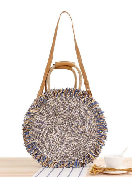Raw Edge Handle Simple Straw Bags