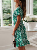 Retro Floral Print Chiffon Dress