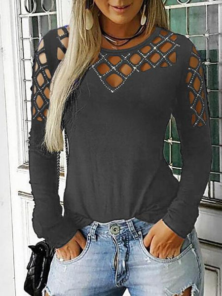 Rhinestone Hollow Out Basic T-shirt