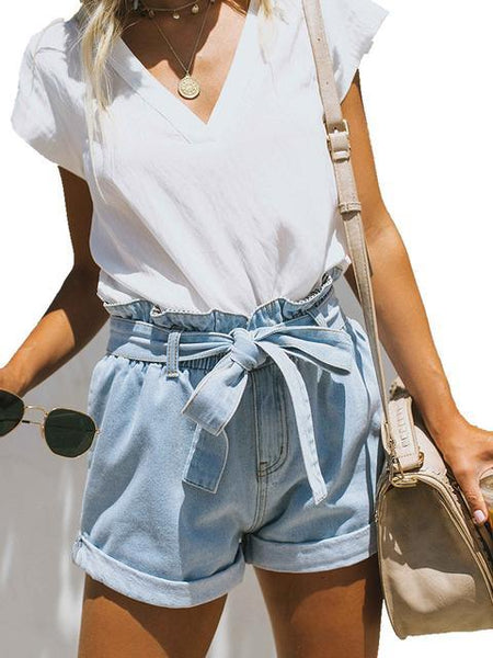 Rolled Hem Denim Shorts With Belt