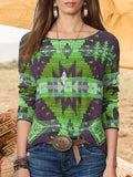 Round Neck Bohemia Print Sweater