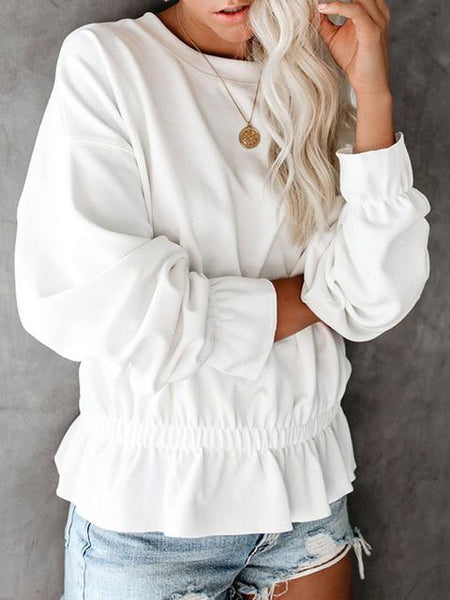 Round Neck Casual Pullover Tops