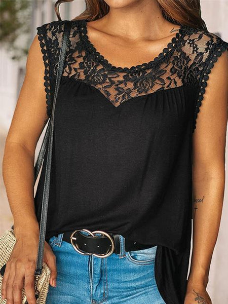 Round Neck Lace Patchwork Casual Cami Tank Tops