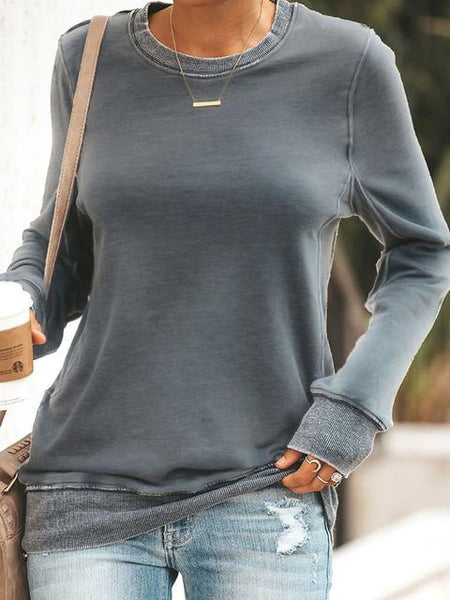 Round Neck Loose Pullover Tops Shirts