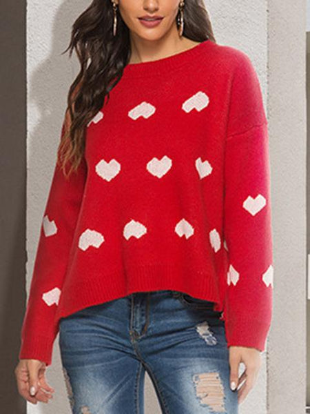 Round Neck Love Print Pullover Sweater