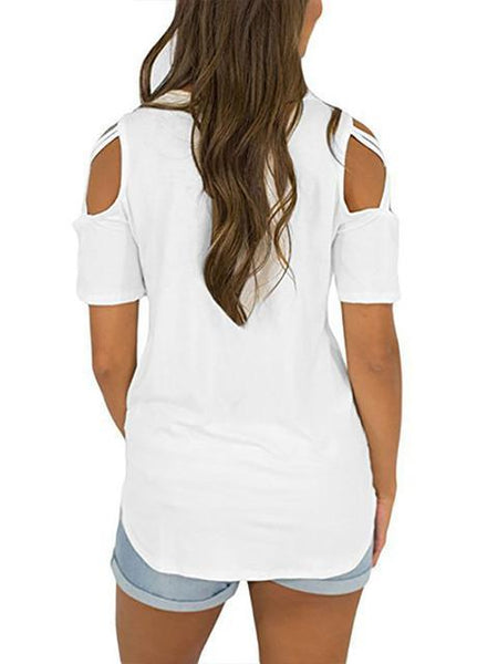 Short Sleeve Cold Shoulder Casual Tops