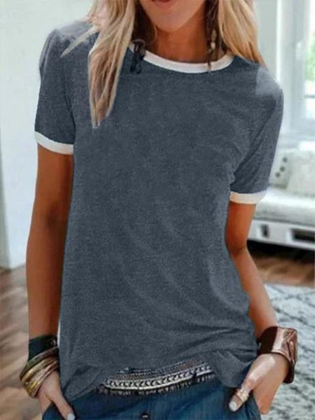Short Sleeve Contrast Color Casual T-shirt