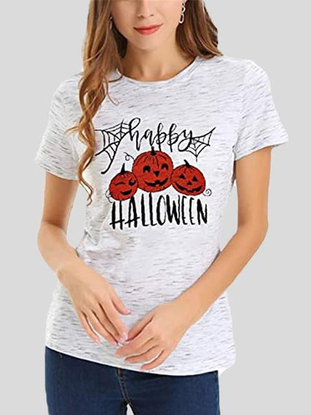 Short Sleeve Hallowenn Print T-shirt