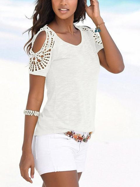 Short Sleeve Hollow Out Shoulder T-shirt