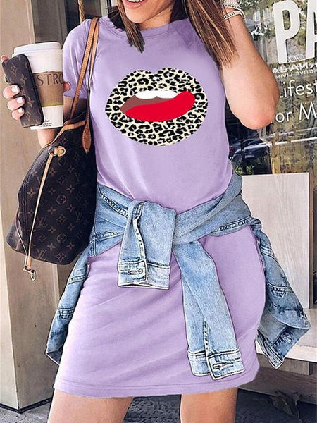 Short Sleeve Leopard Lips Long Tops