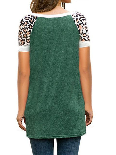 Short Sleeve Leopard Print Twisted T-shirt