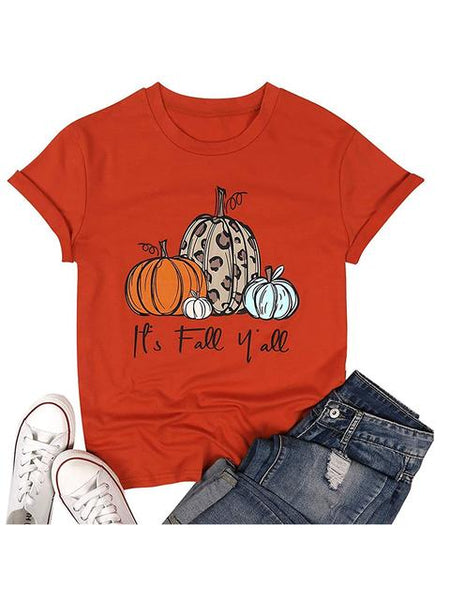 Short Sleeve Pumpkin Print T-shirt