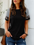 Short Sleeve Striped Leopard Print T-shirt