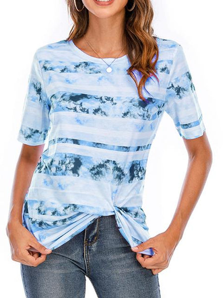 Short Sleeve Tie-dye Print Twisted T-shirt