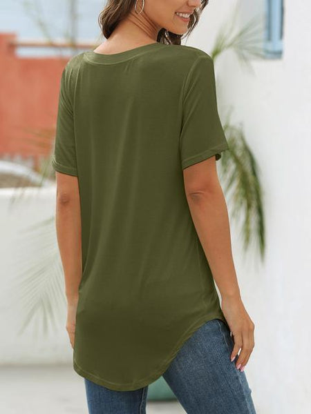 Short Sleeve V-neck Basic T-shirt