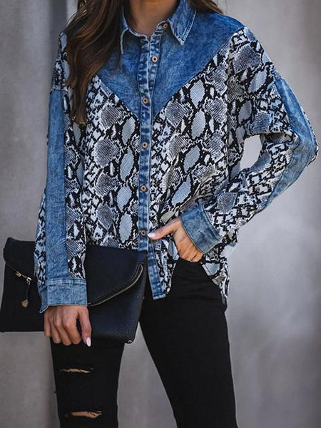 Snakeskin Patchwork Lapel Neck Denim Shirt Jacket