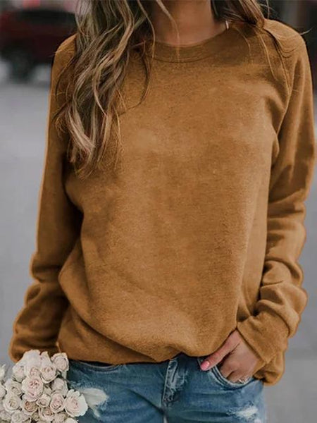 Solid Basic Long Sleeve Casual Blouse