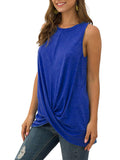 Solid Casual Sleeveless Twisted Tops