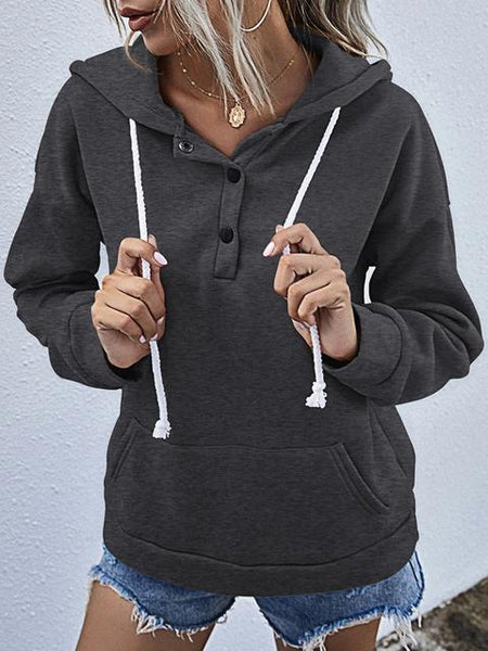 Solid Color Button Up Hooded Sweatshirt