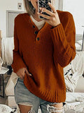 Solid Color Buttons Up Knitting Sweater
