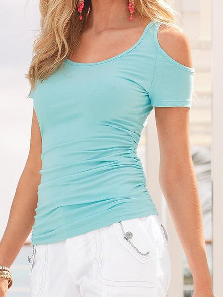 Solid Color Cold Shoulder Basic Tops
