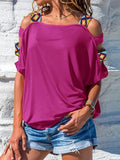 Solid Color Cold Shoulder Tops