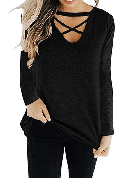 Solid Color Cross Neck Tops