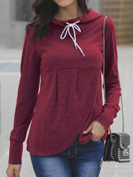 Solid Color Front Pleated Hoodie