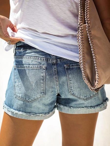 Solid Color Hand-Worn Denim Shorts