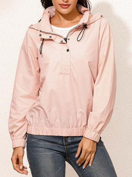 Solid Color Hooded Waterproof Thin Tops