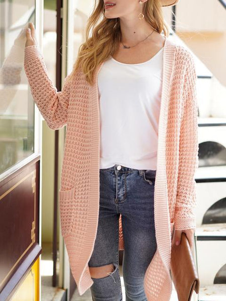 Solid Color Knitted Sweater Cardigan With Pockets
