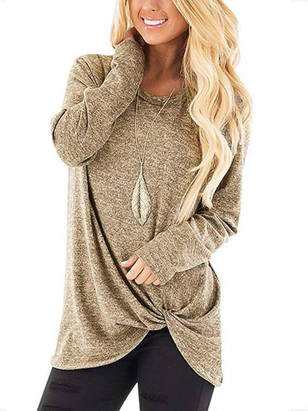 Solid Color Long Sleeve Twisted Tops